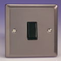 Varilight 1 Gang 1 or 2 Way 10A Rocker Light Switch Pewter/Slate Grey with Black Insert - XR1B
